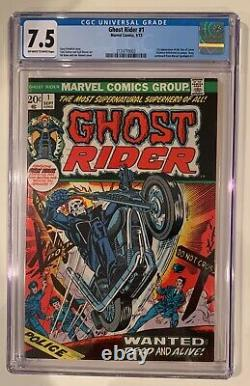 (1973) GHOST RIDER #1 1st cameo Damion Hellstrom! CGC 7.5 OWithWP