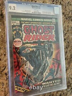 GHOST RIDER #1 CGC 9.2 WHITE (73) KEY issue Son of Satan! Hot One