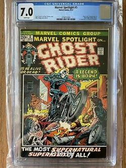 MARVEL SPOTLIGHT #5 CGC 7.0 1st Appearance GHOST RIDER. White Pages Marvel 1972