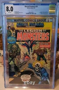 Marvel Premiere 28 CGC 8.0 WHITE Pages Legion of Monsters NO RESERVE