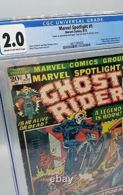 Marvel Spotlight #5 CGC 2.0 Origin 1st app Ghost Rider Johnny Blaze Marvel 1972