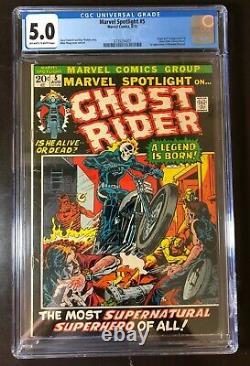 Marvel Spotlight #5 CGC 5.0 owithw. Origin & 1st App Ghost Rider. Case Edge Crack