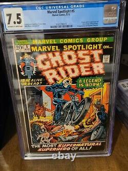 Marvel Spotlight #5 CGC 7.5 OWW Pages 1st Johnny Blaze Ghost Rider