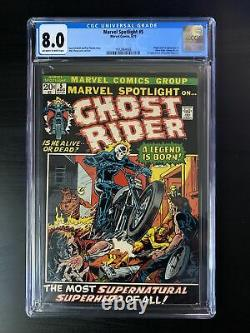 Marvel Spotlight #5 CGC 8.0 OWithW Pages 1st App Ghost Rider Johnny Blaze MCU