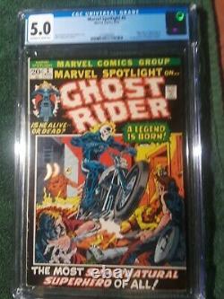 Marvel Spotlight 5 CGC graded 5.0 First Ghost Rider. New Case