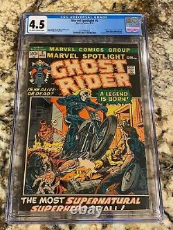 Marvel Spotlight #5 Cgc 4.5 Ow-wh Pages 1st Ghost Rider Johnny Blaze Mcu Grail